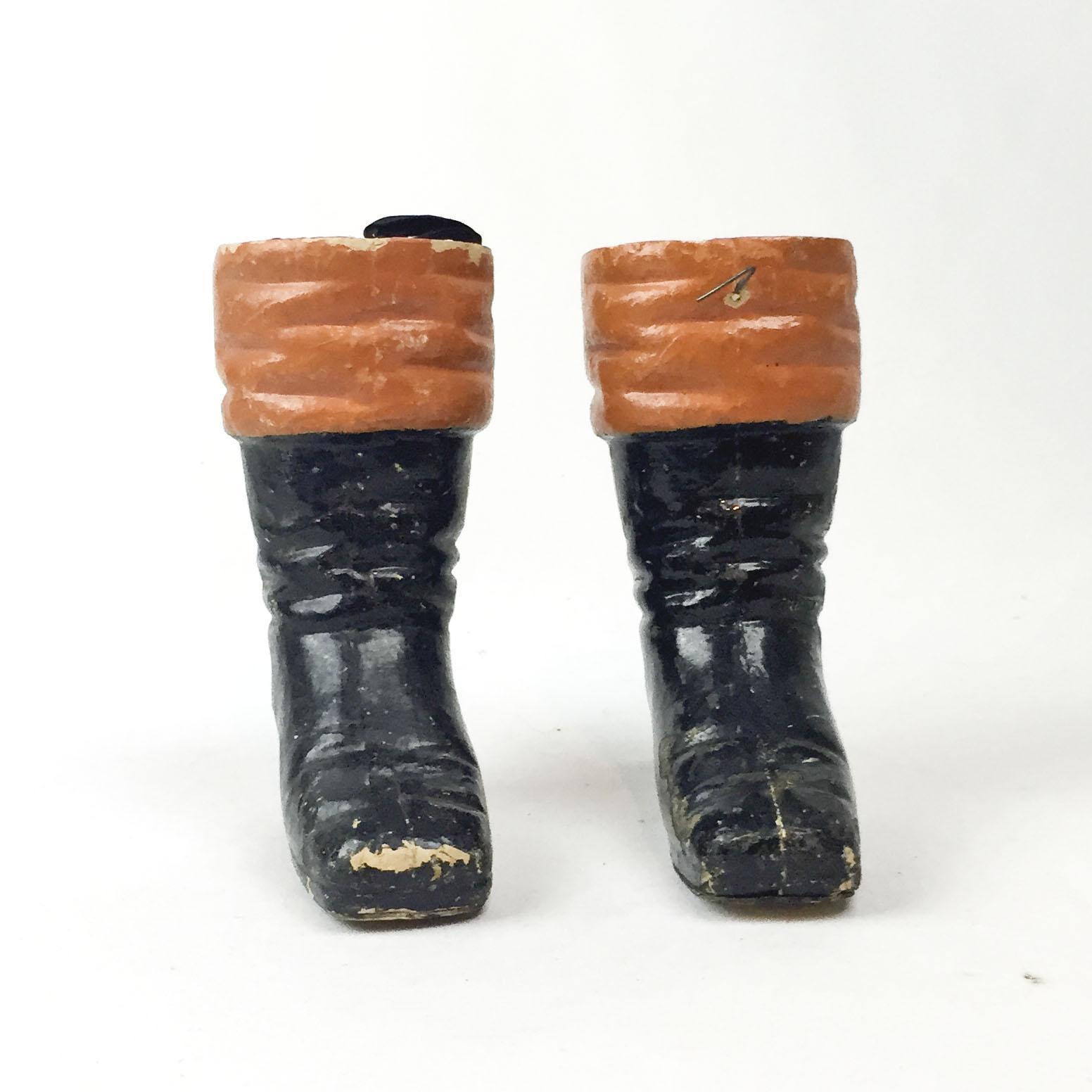 The Inside Track Lancaster Pa: 1910s German Papier Maché Pair Of Santa Claus Boots Candy