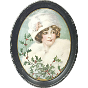 1890s Antique Lithographed Tin Serving Tray with Beautiful Christmas Gibson Girl with Holly 16 1/2""