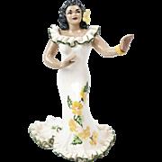 "RARE 1960s Julene of Honolulu Hawaiian Hula Girl Figurine 7"""