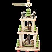 1920s Wooden German Putz Christmas Merry Go-Round