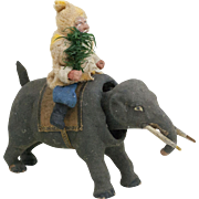 RARE Antique German Christmas Santa Claus Riding an Elephant Nodder 8""