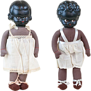 """Pair of 1930s Palitoy of England Celluloid Head Black Dolls with Cloth Bodies 14 1/2"""""""