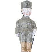"""1920s German Bisque Knotter Nodder Soldier Boy 5 1/2"""""""
