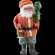 """1910s Antique German Papier Maché Short Coat Santa Claus Candy Container with Lantern 11"""""""