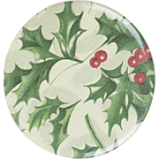 1900s Antique Christmas Holly Print Lithographed Tin Compact Hand Mirror 2 1/2""