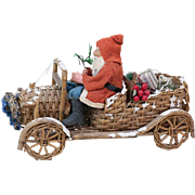 """Antique German Santa Claus Driving an Early Wooden Car filled with Presents 10"""""""