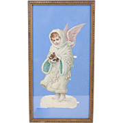 1910s Antique Victorian Christmas Angel Framed Paper Die Cut 15""