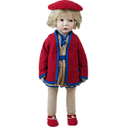 """1930s Italian Lenci or Lenci Type Side Glancing Doll in Red and Blue Outfit 17"""""""