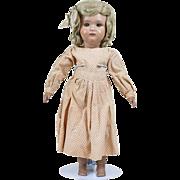1910s Antique Wood Schoenhut Girl Doll with Original Wig