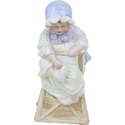 1910s Antique German Heubach Bisque Baby in a High Chair Figurine 7 1/2""