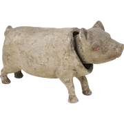 Early Antique Flocked Papier Maché Pig Nodder 7 1/2""