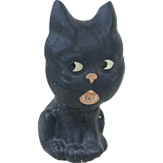 """1920s German Papier Maché Halloween Black Cat Candy Container with Large Nodding Head 6 1/2"""""""