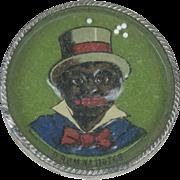 "1910s Antique German Dexterity Game with Black Man Smoking 2 1/2"""