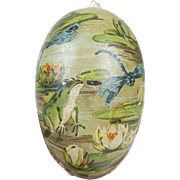 1910s Antique German Paper Easter Egg with Dresden Trim Frog & Lily Pad Motif 4 1/2""