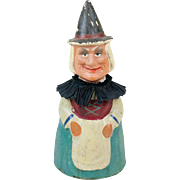 Antique German Papier Maché Witch Candy Container 9""