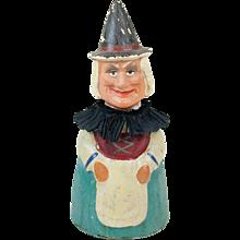 "Antique German Papier Maché Witch Candy Container 9"""