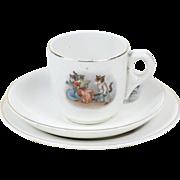1910s Antique Children't China Tea Cup, Saucer & Dessert Plate with Little Kittens
