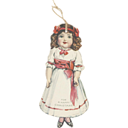 1910s Antique Lithograph Die-Cut Paper Christmas Tag German Bisque Doll 3""