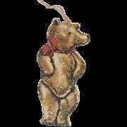 "1910s Antique Lithograph Die-Cut Paper Christmas Tag Teddy Bear 3"""