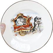 1910s Antique Children't China Tea Set Dessert Plate with Little Kittens