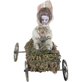 Rare 1910s Antique German Bisque Face Easter Bunner Riding a Grass Car 5 1/2""