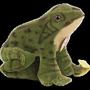 """1950s Steiff Velveteen """"Froggy"""" Green Frog 4 1/2"""""""