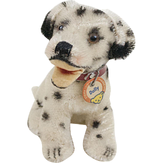 "1950s German Steiff Sitting ""Dally"" Dalmation Dog 6"""
