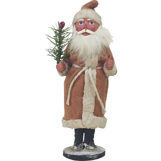 1910s Antique German Santa Claus Long Coat Candy Container 7""
