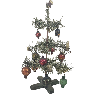 1930s German Small Christmas Tree with Glass Ornaments 6 3/4""