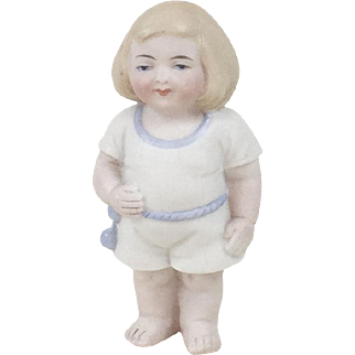 1920s Antique German All Bisque Chubby Little Girl Figurine with Bob 4""