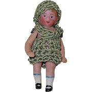 "German Bisque 1-3/4"" Miniature Doll with Green Crochet Dress & Hat Carl Horn"
