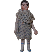 """1900's German Bisque 2-3/4"""" Miniature Doll with Cloth Dress & Shawl"""