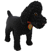 1950's Steiff Maidy Black Poodle Dog with Grommeted Chest Tag & RSP Button Ear 1330.06