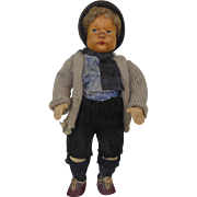 """1940's Krahmer Wooden Head German Doll with Knitted Outfit 13"""""""