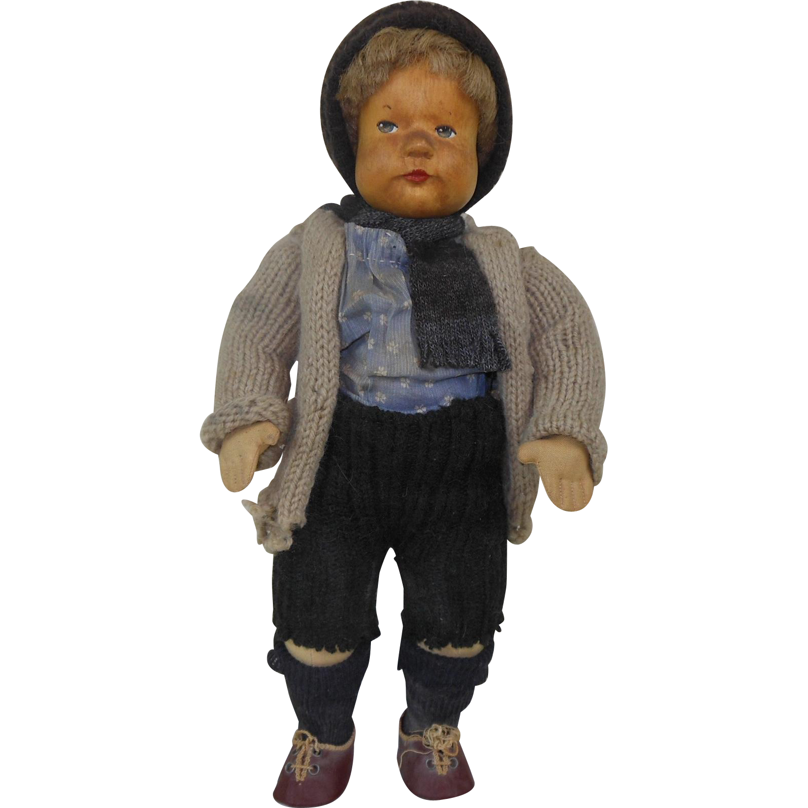 Wooden Knitting Doll : S krahmer wooden head german doll with knitted outfit