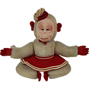 1930's Large Mohair Circus Monkey with Molded Cloth Muslin Face 18""