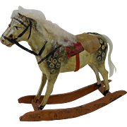 Early Small Paper Mache Rocking Horse with Cotton Mane 8""