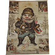 1900's Thomas Nast Santa Claus Is Coming Cloth Tapestry Wall Hanging Christmas