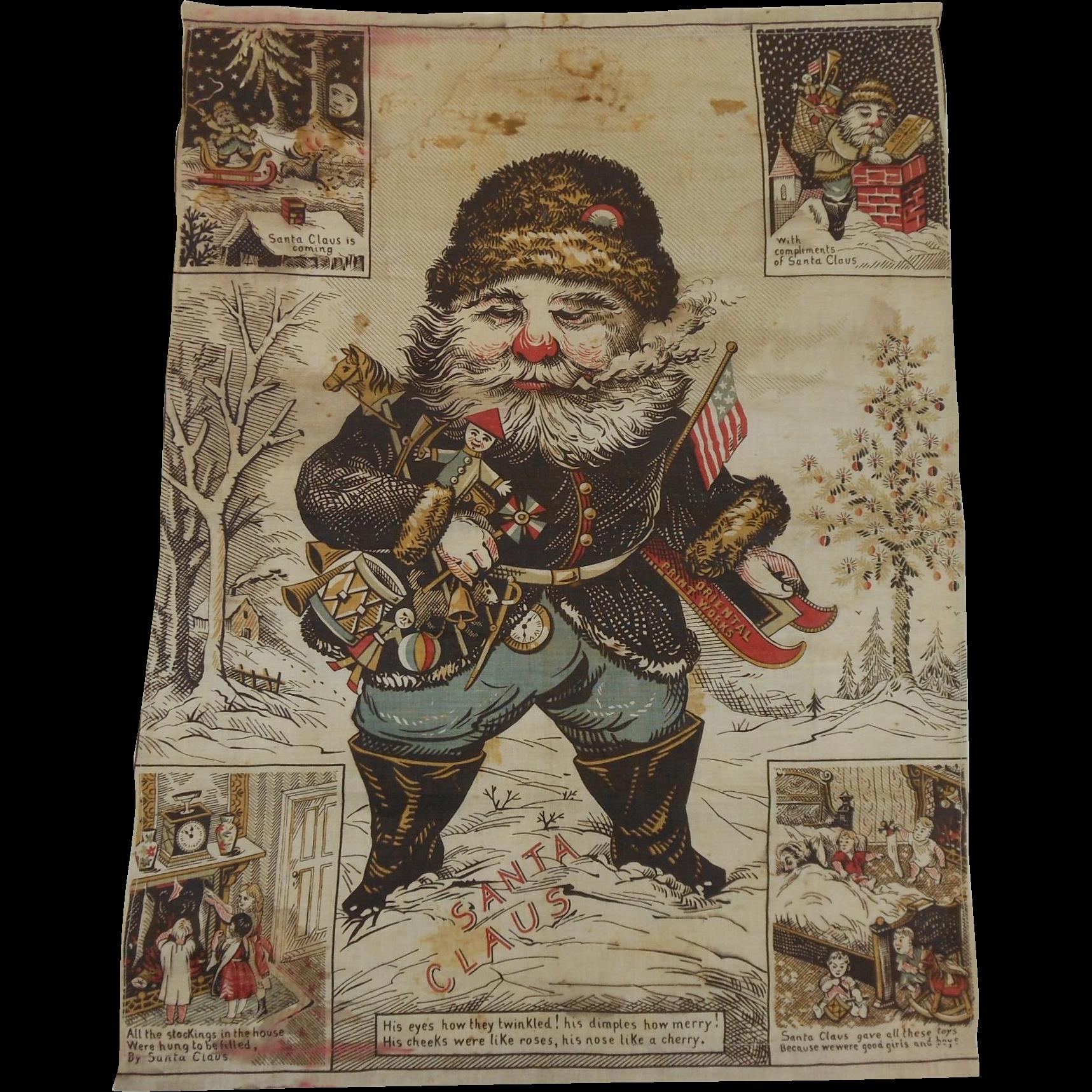 1900 S Thomas Nast Santa Claus Is Coming Cloth Tapestry
