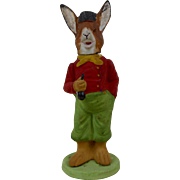 1910 German Easter Rabbit Holding A Pipe Paper Mache Candy Container 6-1/4""