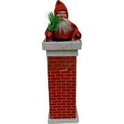 1920's Paper Mache Santa In Chimney with Feather Tree Candy Container Germany 10""