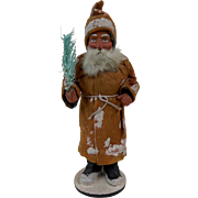 1890's German Paper Mache Santa Candy Container with Golden Yellow Coat & Feather Tree 10""