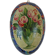 Victorian Easter Egg Candy Container with Tulips & Fish Swimming in Coral Dresden Trim Germany 4-1/2""