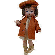 1910's Original Armand Marseille AM Just Me Doll in Orange Coat & Hat Germany 9""