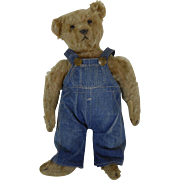 1900's Steiff Fully Jointed Teddy Bear with Shoe Button Eyes Wearing Buddy Lee Overalls 12""
