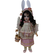 19teens Doll with Bunny Ears & Basket Easter Candy Container Germany