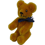 """Mint 1950's Tiny Apricot Schuco Teddy Bear with Blue Ribbon Fully Jointed Germany 3.5"""""""