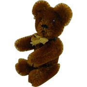 """Mint 1950's Tiny Gold Schuco Teddy Bear with Yellow Ribbon Fully Jointed Germany 3.5"""""""