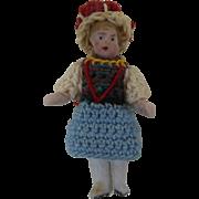 "1900's Carl Horn German Bisque 1-1/2"" Miniature Doll in Crochet Dress & Hat"