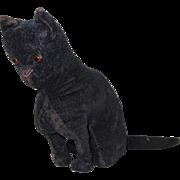 """1920's Small Velveteen Sitting Black Cat Plush Toy 4"""""""